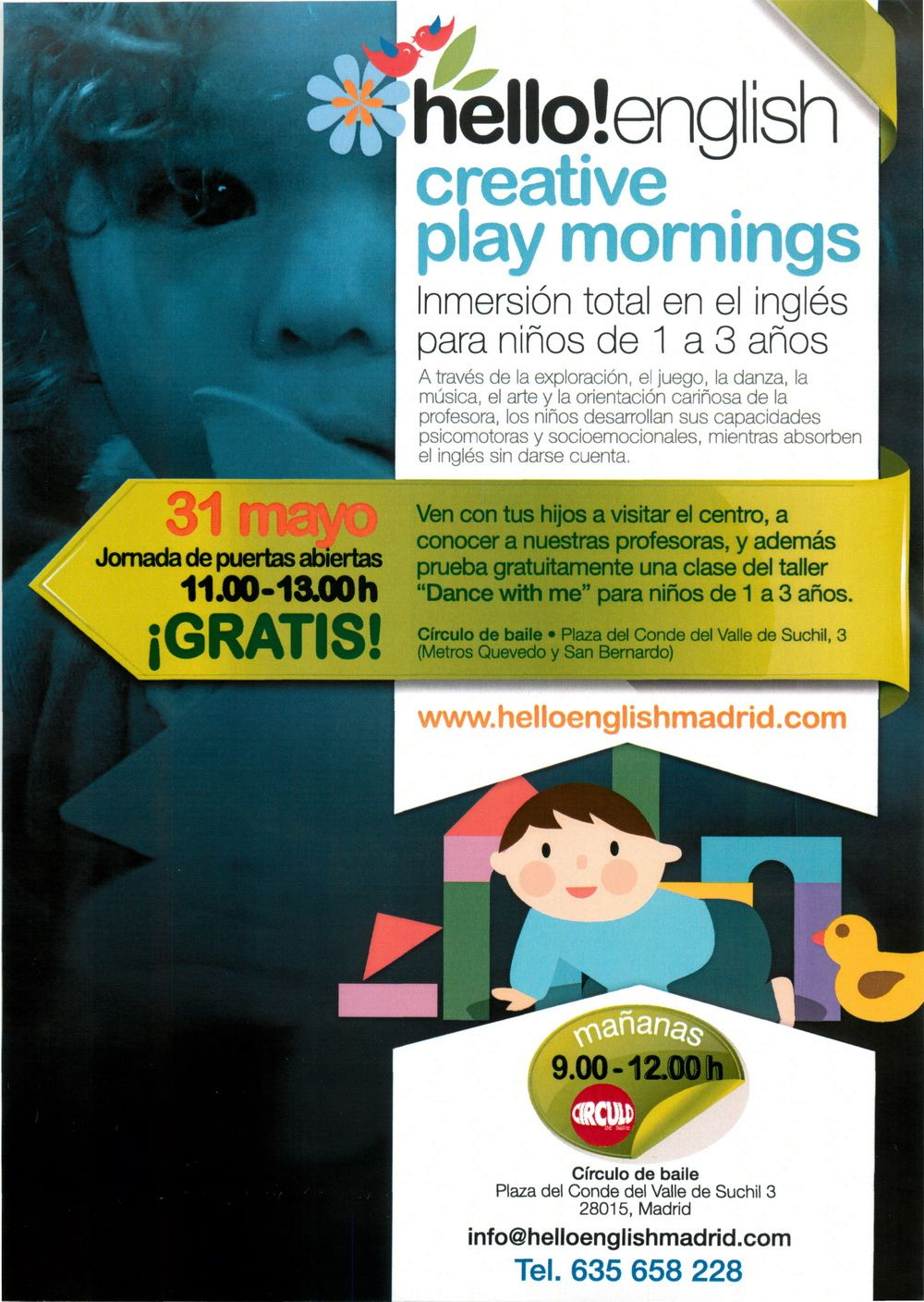 Hello! English. Creative Play Mornings. Flyer. Mediano