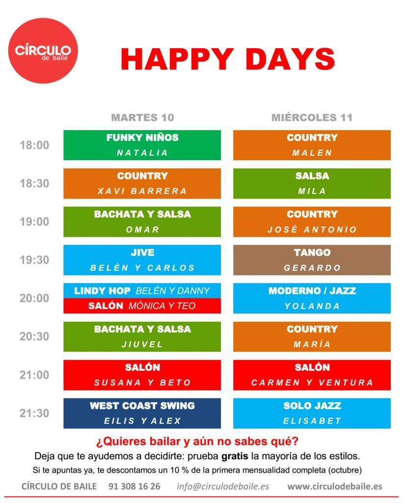 Horario de los Happy Days 2019