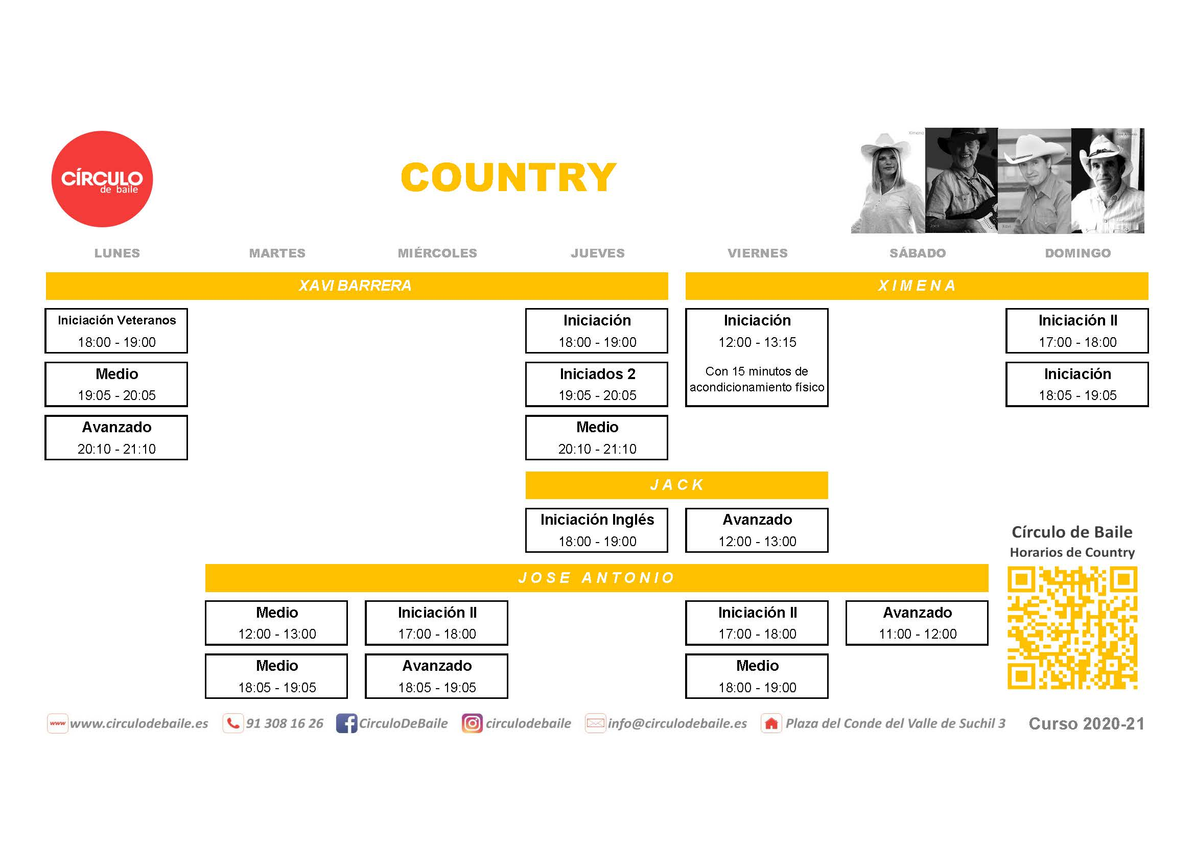 Horarios de Country del curso 2020-21 en Circulo de Baile