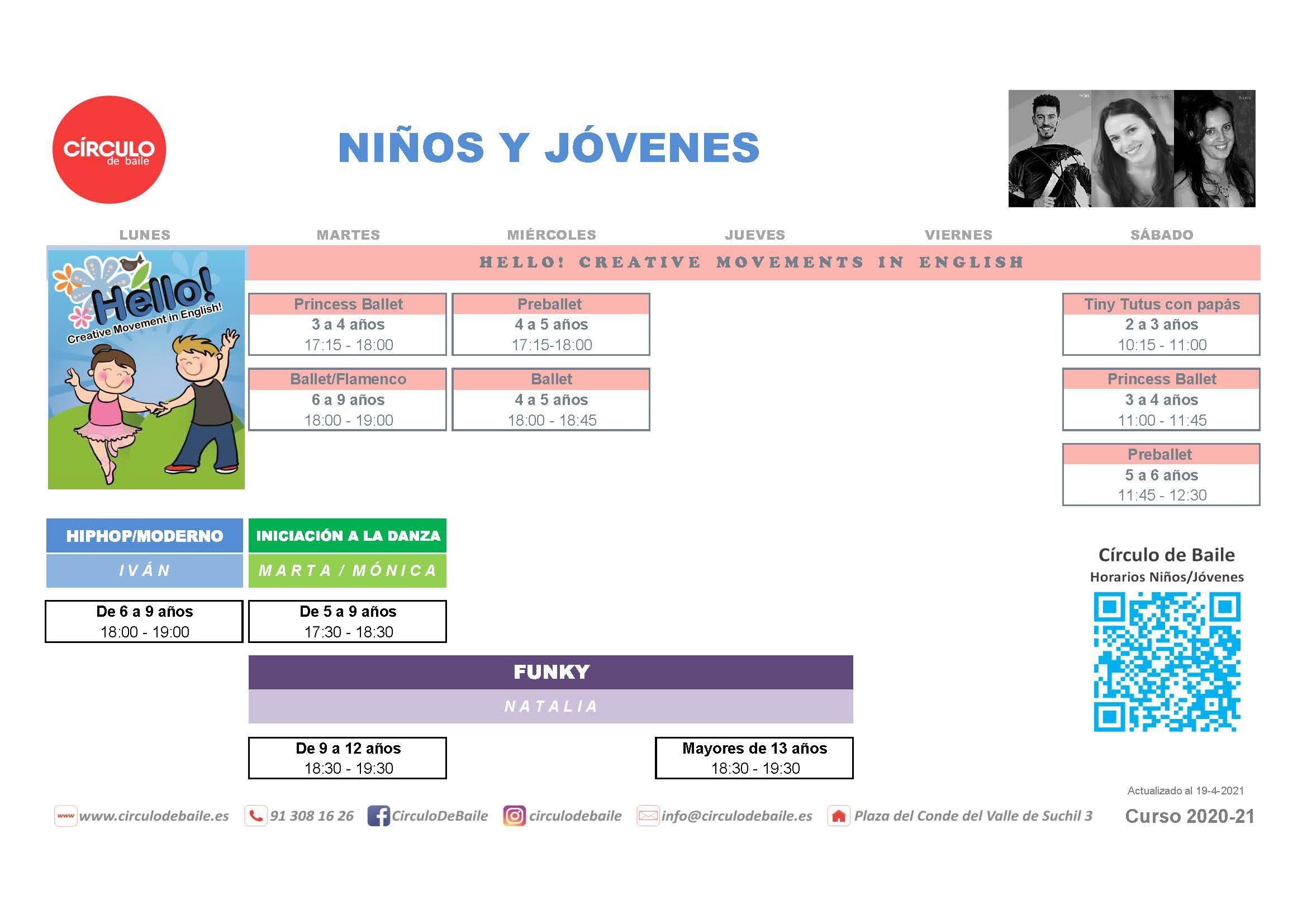 Horarios para niños y jóvenes del curso 2020-21 en Circulo de Baile