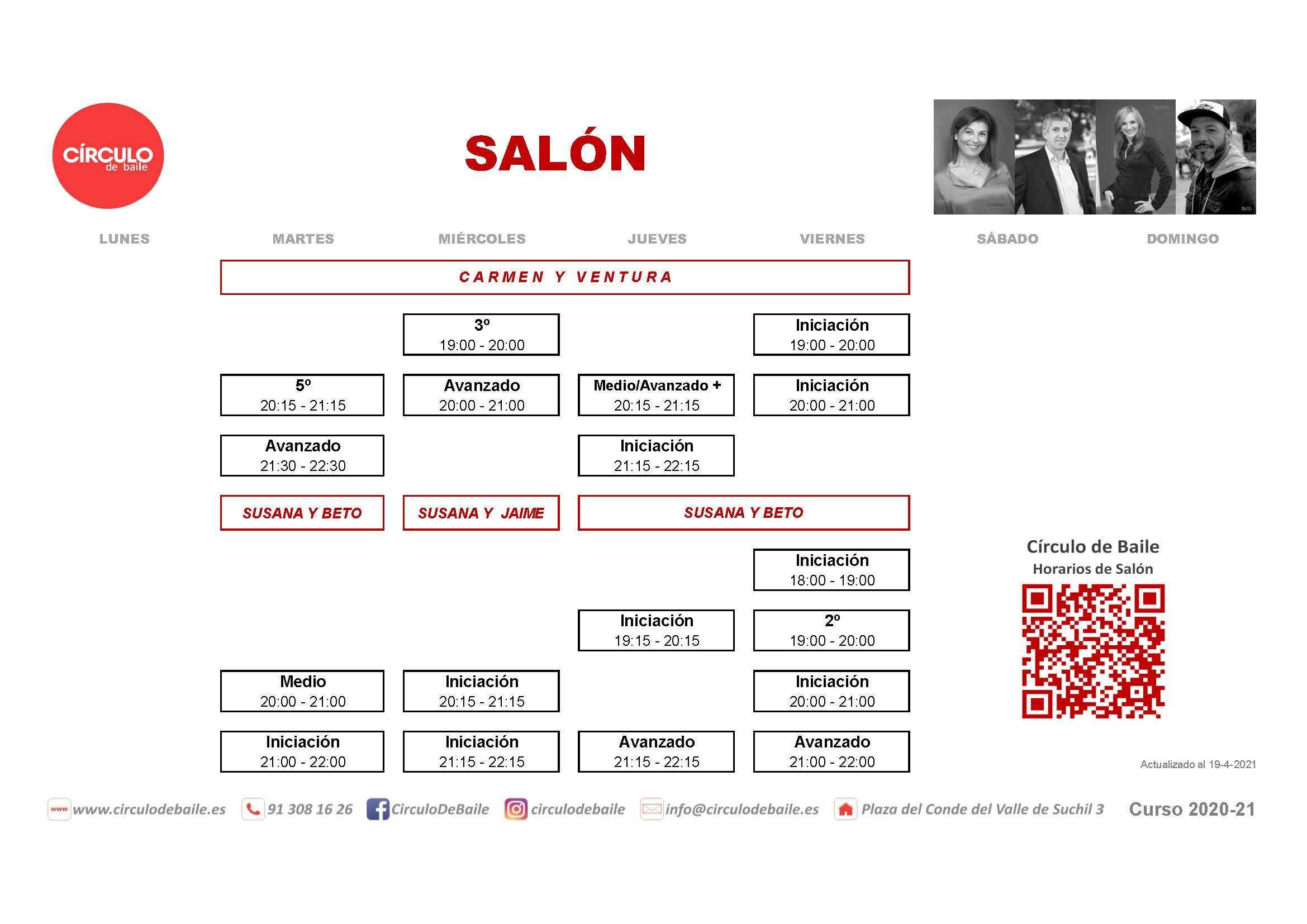 Horarios de Salón del curso 2020-21 en Circulo de Baile