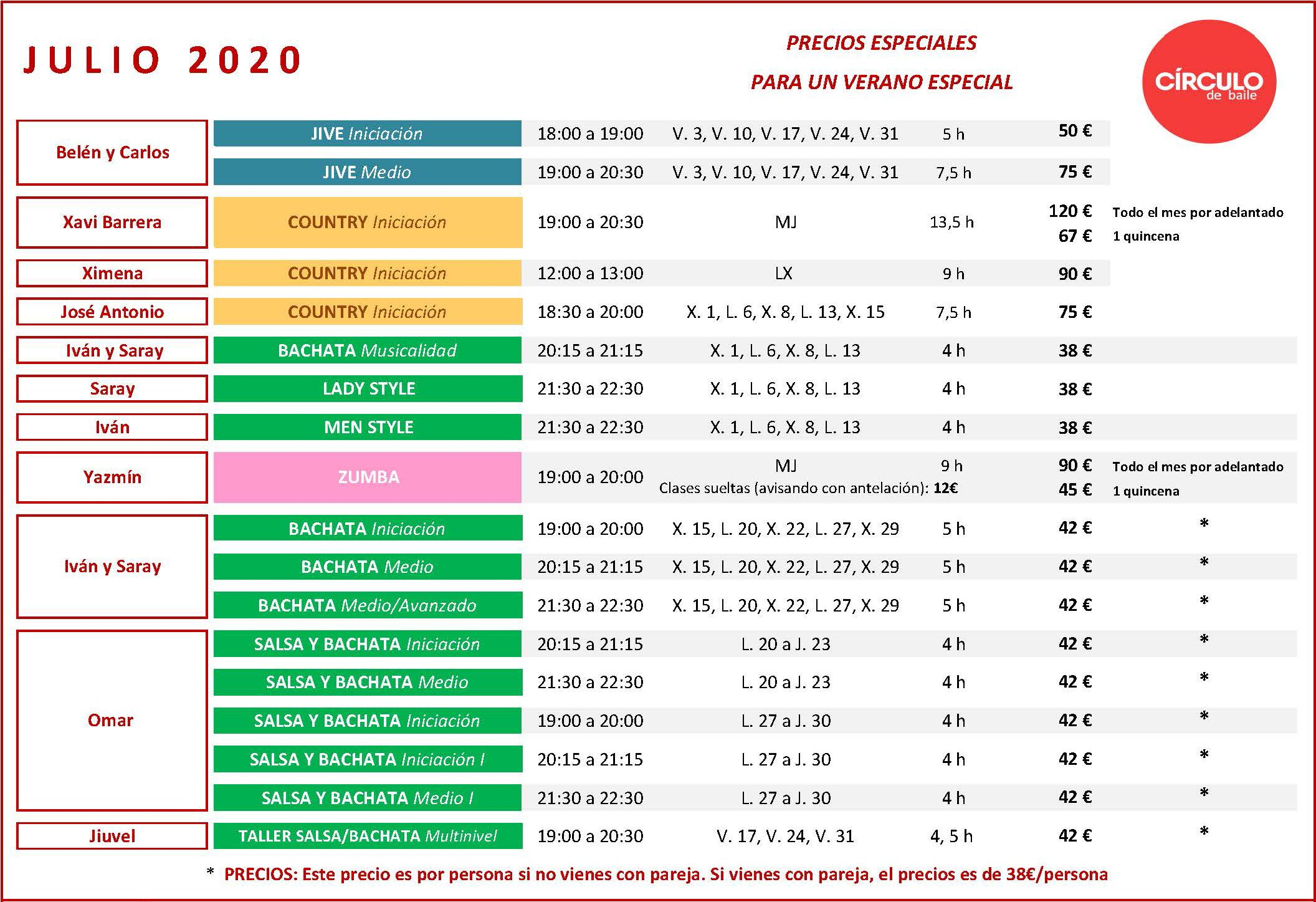 Cursos intensivos de julio de 2020 en Circulo de Baile