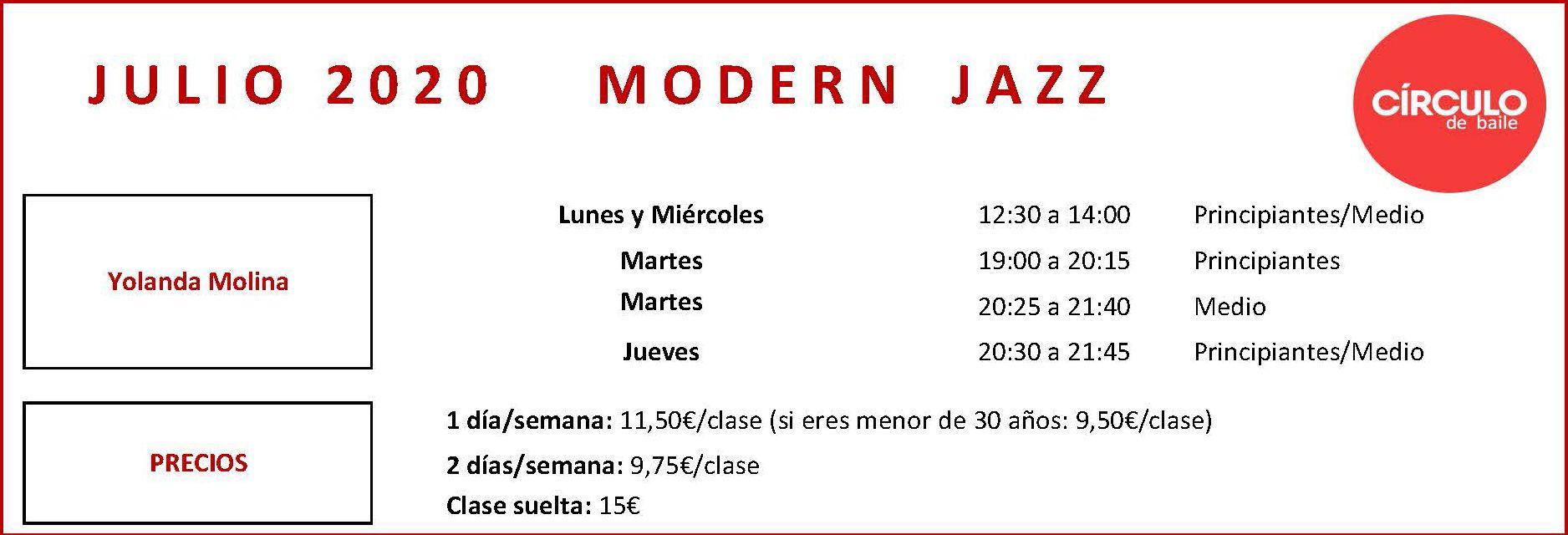 Cursos de Modern Jazz de Yolanda en julio de 2020 en Circulo de Baile