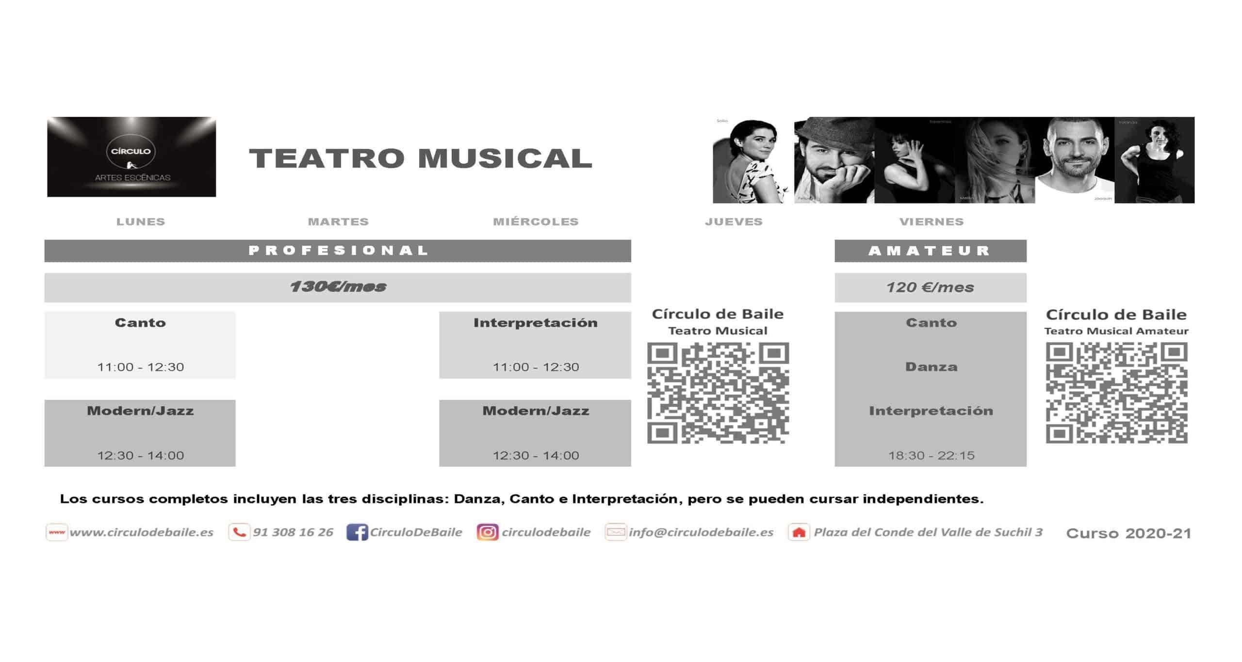 Horarios de Teatro Musical Amateur del curso 2020-21 en Circulo de Baile