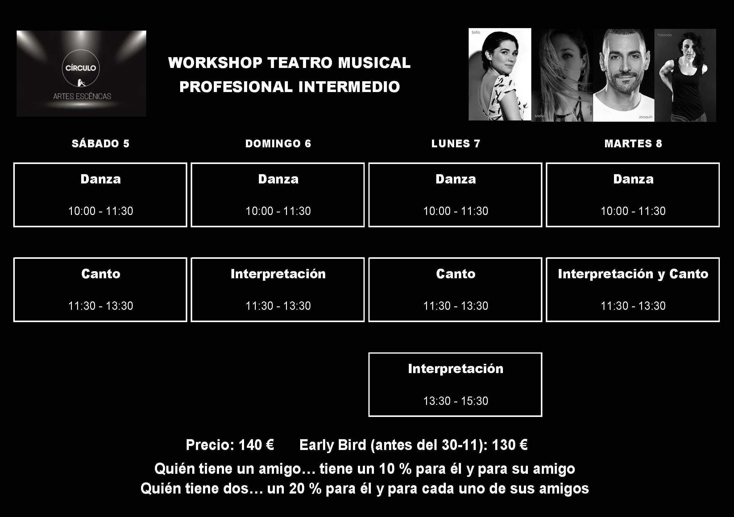 Círculo de Baile. Artes escénicas. Workshop Intermedio el puente de la Constitución. Horario