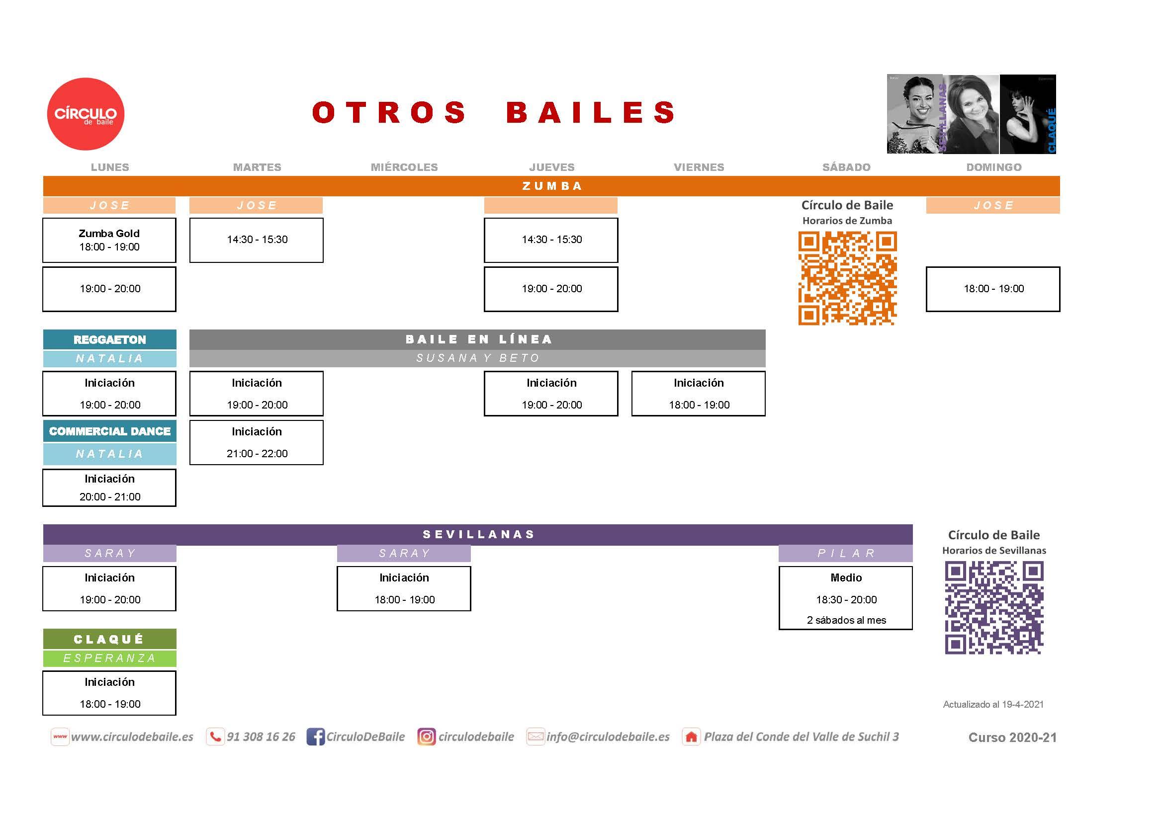 Horarios de otros bailes del curso 2020-21 en Circulo de Baile