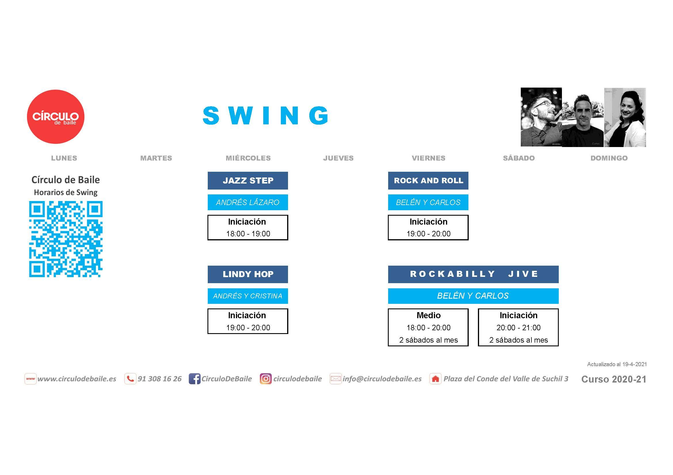 Horarios de Swing y Rock and Roll del curso 2020-21 en Circulo de Baile