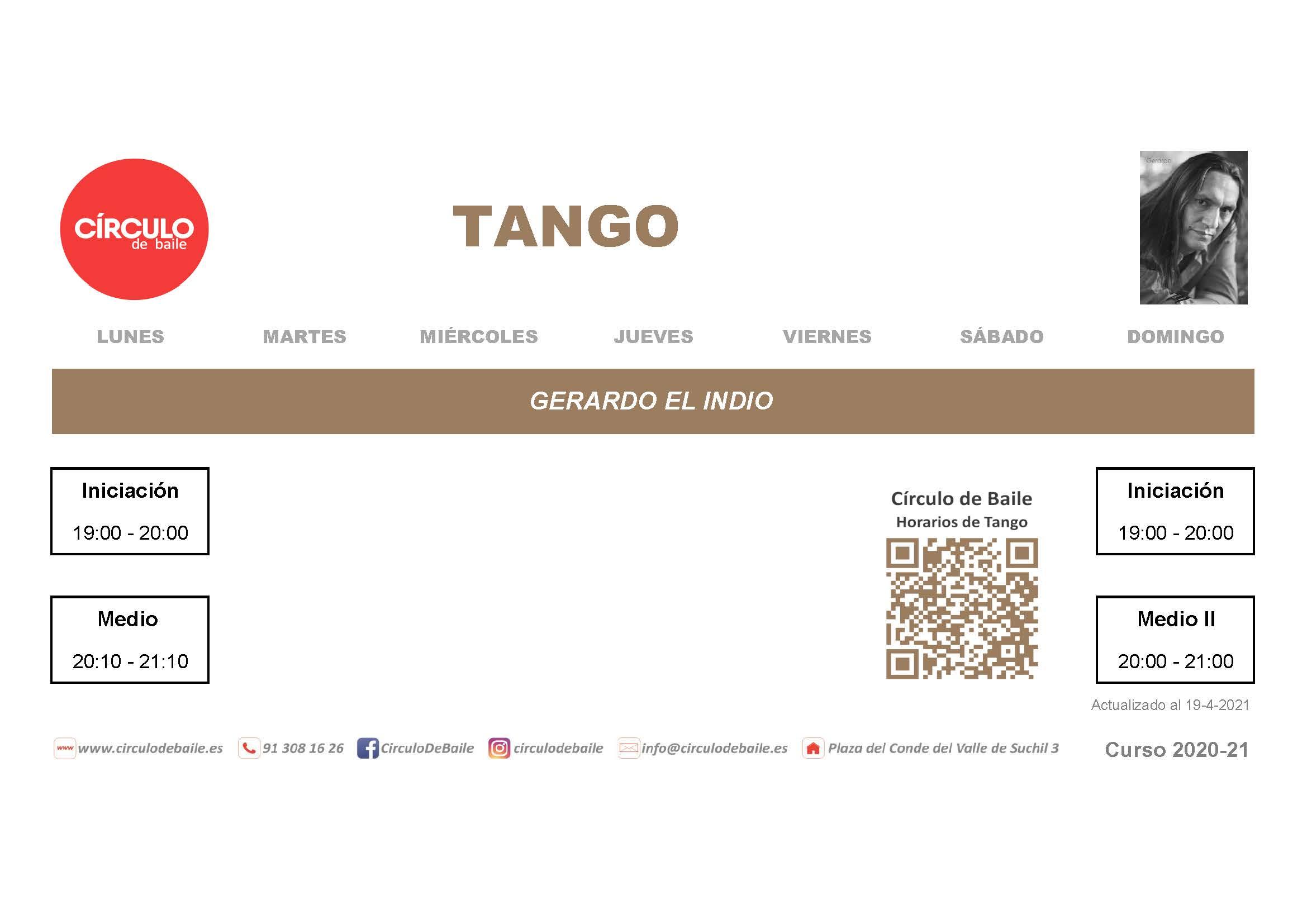 Horarios de Tango del curso 2020-21 en Circulo de Baile.