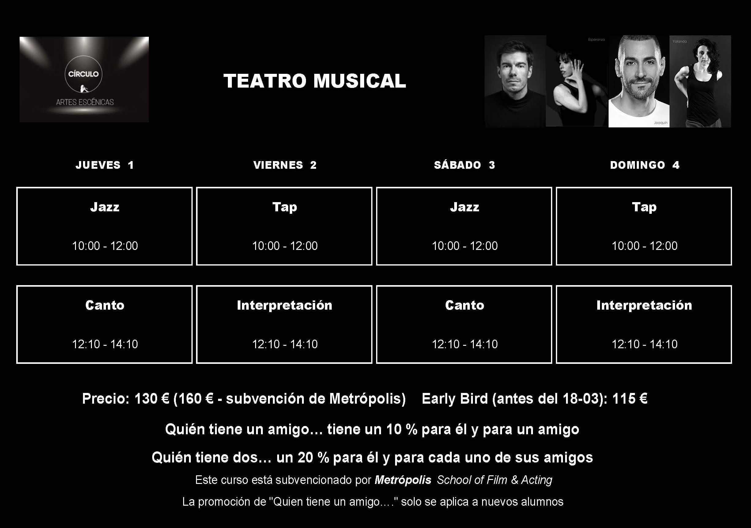 Círculo de Baile. Artes Escénicas. Workshop Teatro Musical Adultos. Horario
