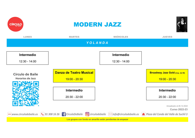 Horarios de Modern Jazz del curso 2020-21 en Circulo de Baile