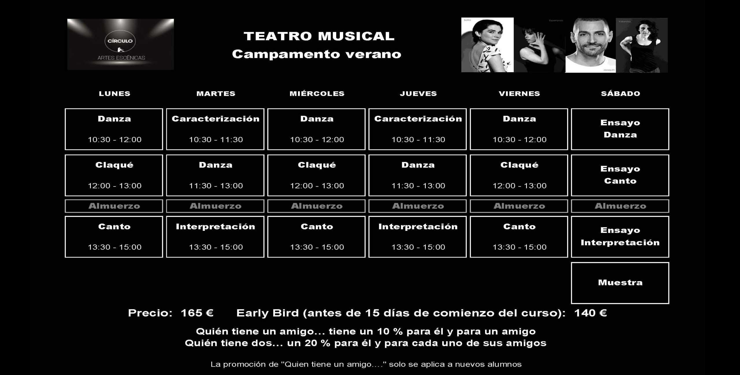 Campamento de Verano de Teatro Musical en Círculo de Baile. Última semana de junio y primeras de julio