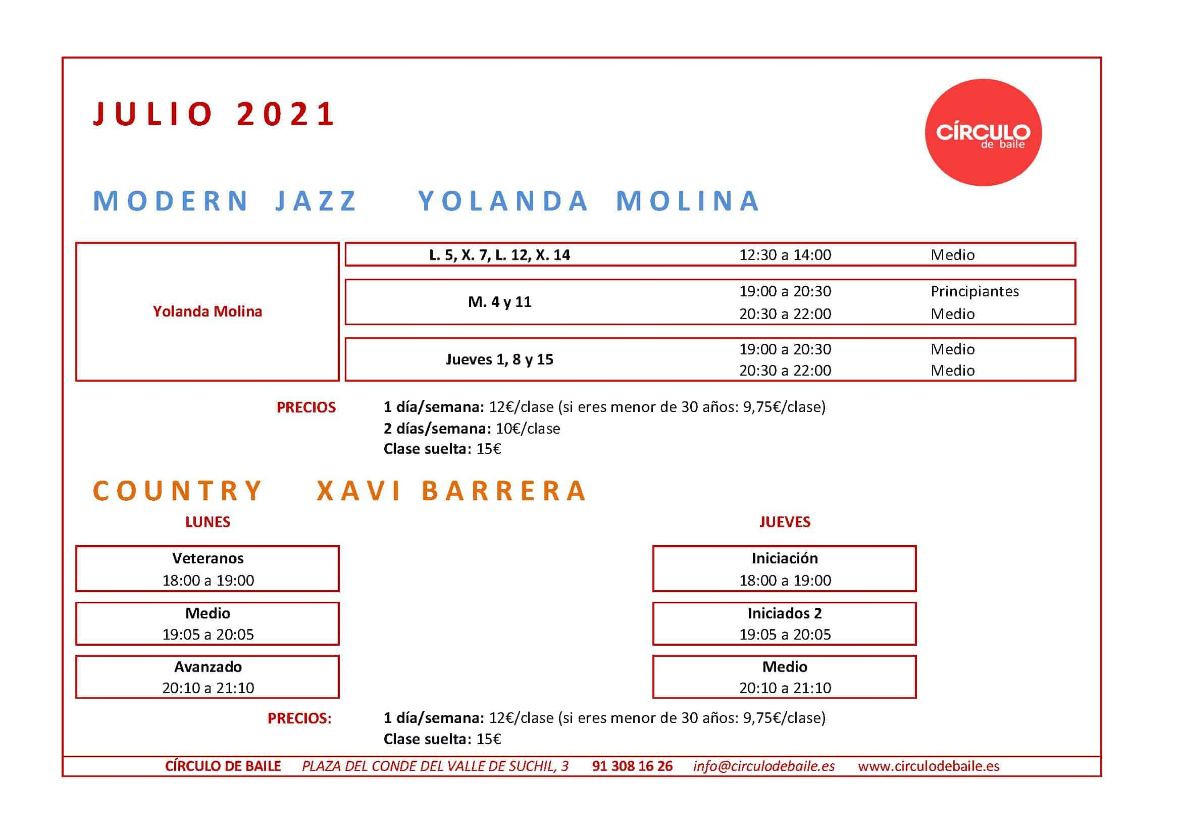 Horarios de las clases regulares que continúan en julio 2021 en Circulo de Baile