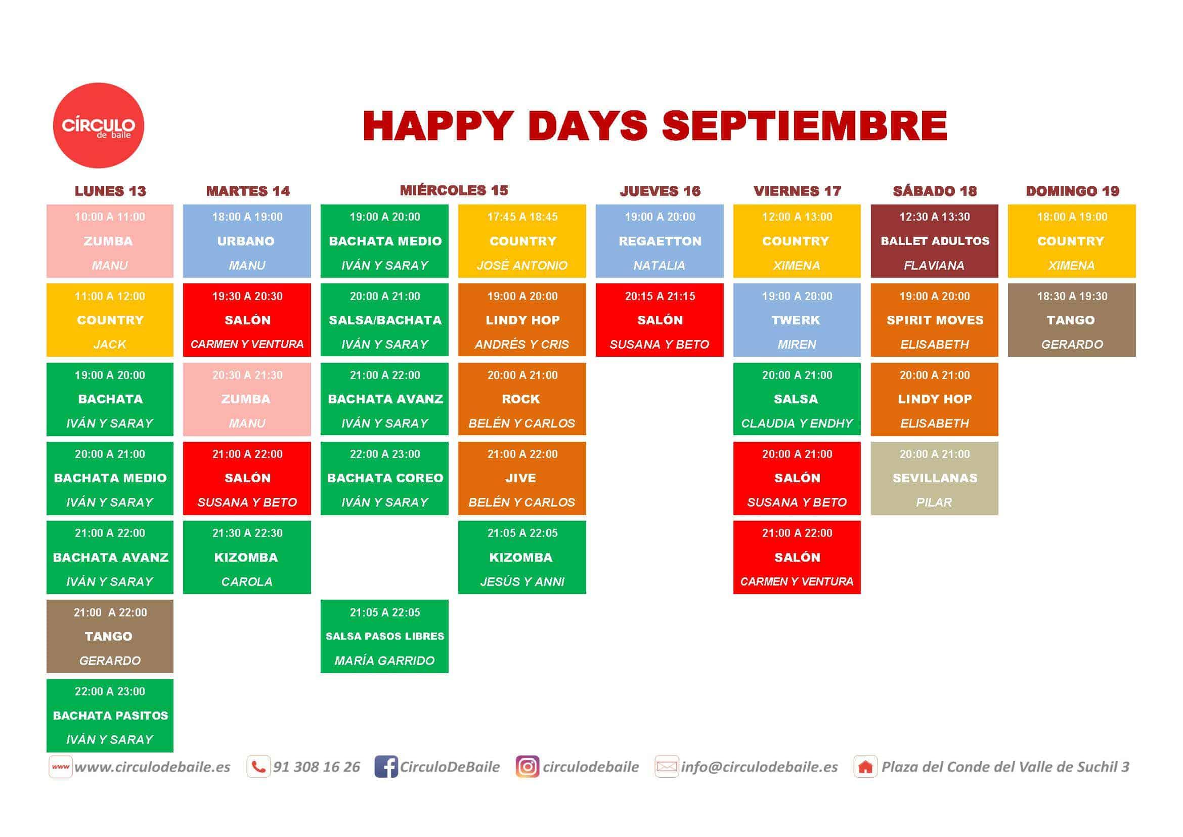 Horario de la semana de puertas abiertas del 13 al 19 de septiembre de 2021: prueba nuestra clases